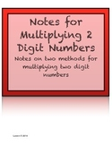 Notes for Multiplying Two Digit Numbers