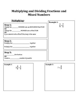 Notes for Multiplying and Dividing Fractions and Mixed Numbers