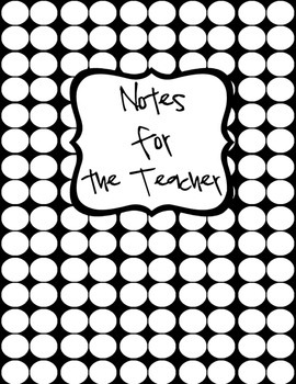Notes for the Teacher (Binder Cover & Spine Label)