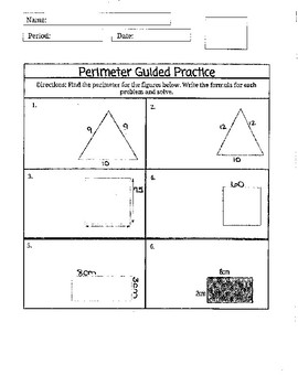Notes for Perimeter of Square, Rectangle, and Triangle