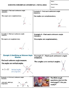 Notes for Supplementary, Complementary, Vertical Angles