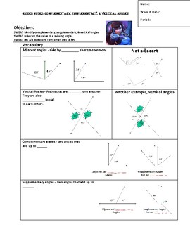 Guided Notes for Supplementary, Complementary, Vertical Angles