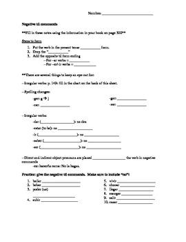 Notes for negative tú commands