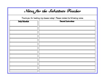 Notes for the Substitute Teacher Form Pack