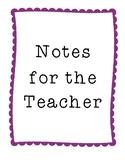 Notes for the Teacher