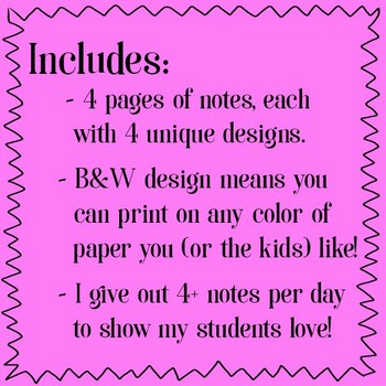 Notes from Teacher - Set of 16 incl. math, science, reading - B&W design