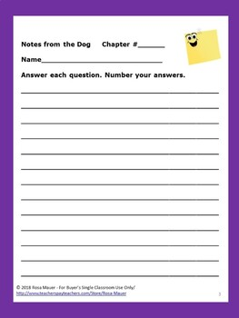Notes from the Dog Gary Paulsen Book Unit