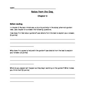Notes from the Dog by Gary Paulsen, chapter 3-4 student ac