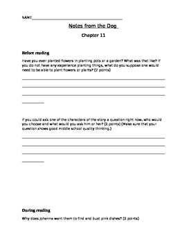 Notes from the Dog by Gary Paulsen, chapters 11-12 student activity pages