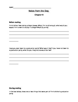 Notes from the Dog by Gary Paulsen, chapters 9-10 student activity pages