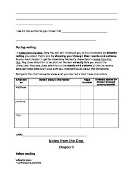 Notes from the Dog by Gary Paulsen student activities, chapters 1-2