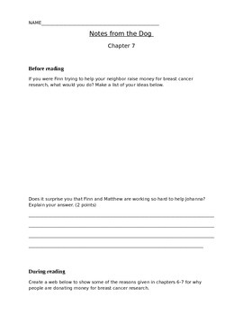 Notes from the Dog, chapter 7-8 student activity pages