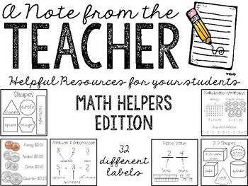 Notes from the Teacher: Math Helpers (Target Label Inserts)