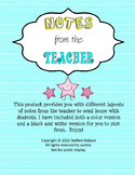 Notes from the Teacher - Printable