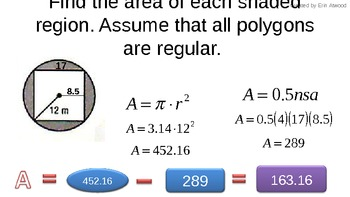 Notes in PPT for finding area of circles, regular polygons, and shaded regions