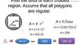 Notes in PPT for finding area of circles, regular polygons