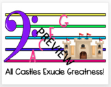 Space Notes of the Bass staff with Castle Theme