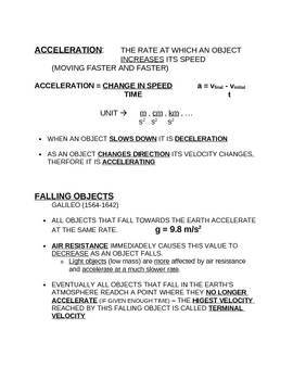 Notes on Acceleration (motion speed)