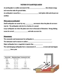 Notes on Earthquakes (Plate Tectonics Unit)