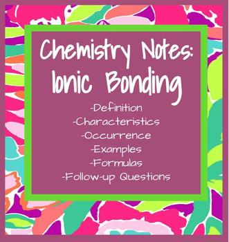 Notes on Ionic Bonds