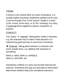 Notes on Narrator, (Point of View) Conflict, and Theme