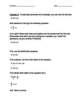 Notes on Solving Literal Equations