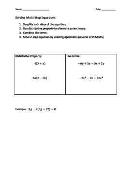 Notes on Solving Multi-Step Equations
