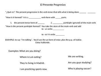Notes on present progressive (avancemos 8.1)