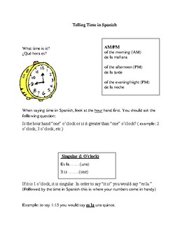 Notes on telling time in Spanish