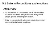 """Notes on the verb """"Estar"""" with conditions"""