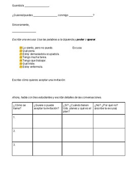 Notes page for the verbs poder and querer with a fun activity