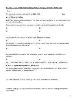 Notes pour l'Acte de Québec et la guerre d'indépendance américaine