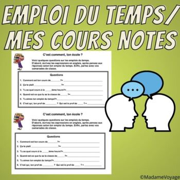 Notes & speaking activity -les classes- French level 1 Bien Dit 1 Chapter 4