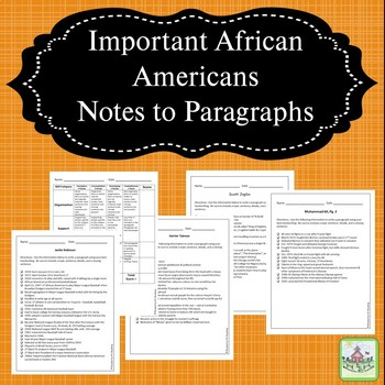 Notes to Paragraphs with Important African Americans