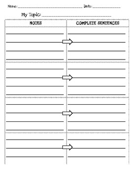 Notes to Sentences - Graphic Organizer