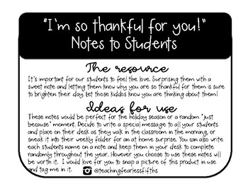 Notes To Students Im So Thankful For You By Teaching Fearless Fifths