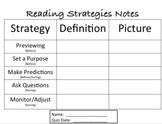 "Notes worksheet ""Reading Strategies That Good Readers Use"""