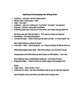 Notes/Handout for Exploring and Developing Writing