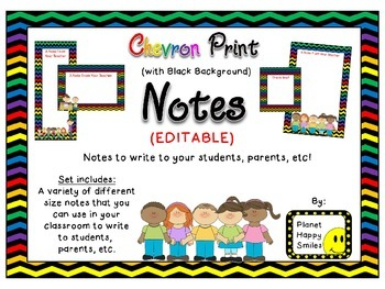 Notes/Notecards (EDITABLE) ~ Chevron Rainbow Print with bl