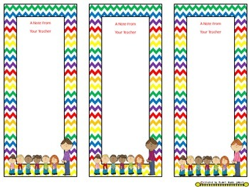 Notes/Notecards (EDITABLE) ~ Chevron Rainbow Print with white background