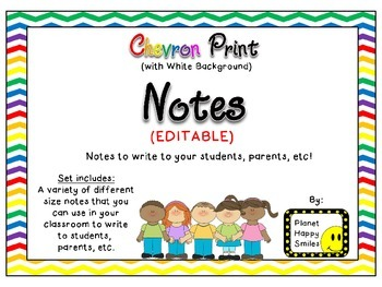 Notes/Notecards (EDITABLE) ~ Chevron Rainbow Print with wh