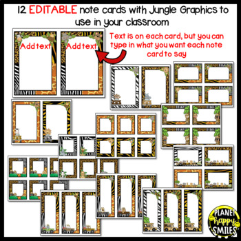 Notes/Notecards (EDITABLE) ~ Jungle/Safari Print