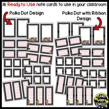 Notes/Notecards (EDITABLE) ~ Polka Dot B/W Print
