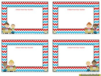 Notes/Notecards (EDITABLE) ~ Red, White & Blue Chevron