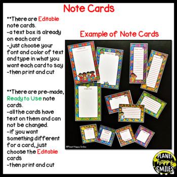 Notes/Notecards (EDITABLE) ~ Super Hero Theme