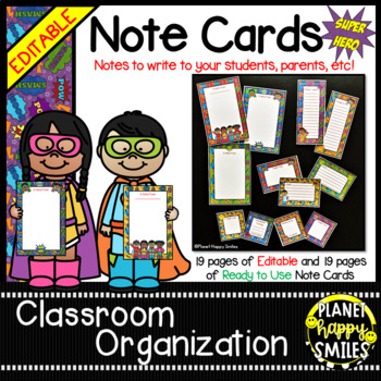 Notes/Notecards (EDITABLE) ~ Super Hero Theme