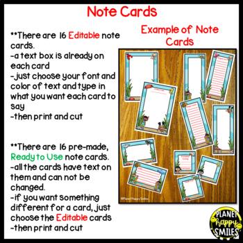 "Notes/Notecards (EDITABLE) ~ ""Under the Sea"" Ocean Theme"