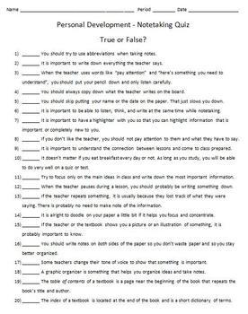 Notetaking Quiz