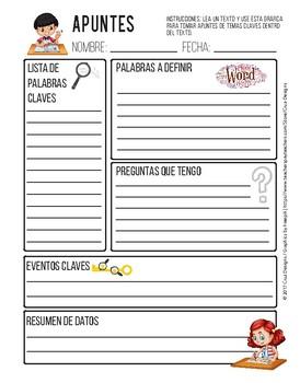 Notetaking Worksheet / Hoja de Apuntes PDF English / Spanish