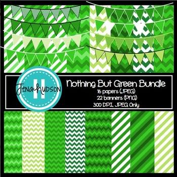 """""""Nothing But Green"""" Bundle ~ Papers and Pennant Banners"""
